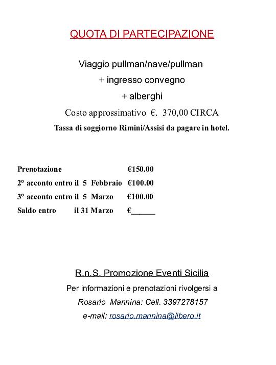 Proposta di viaggio Rimini 2019 – RnS – Diocesi di Palermo